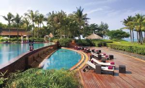Phulay Bay pool deck on a Thailand beach honeymoon