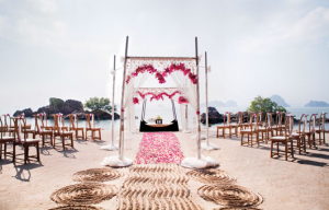 Beach ceremony on a Thailand destination wedding at Phulay Bay