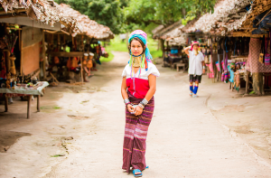A Karen tribe woman  in her village in Thailand