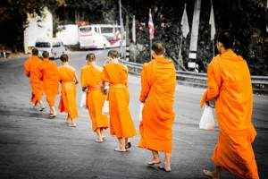 Monks in Chiang Mai on a Thailand honeymoon