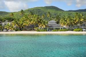 view from the sea at Carlisle Bay, all inclusive honeymoon resort on Antigua