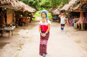 A Karen tribe woman in her village in Thailand