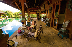 Pool deck at Howie's Homestay on a Chiang Mai honeymoon