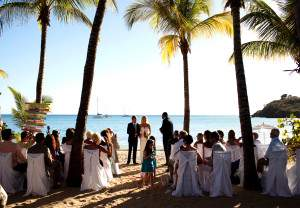 Destination wedding ceremony at Carlisle Bay on Antigua