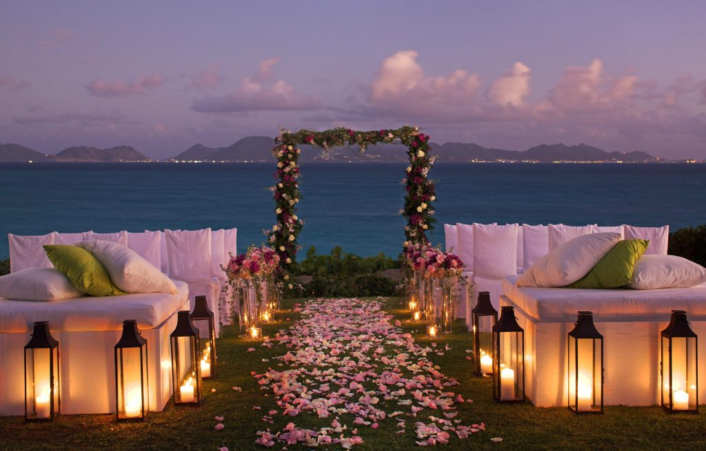 A sunset destination wedding at Cap Juluca on Anguilla; courtesy Cap Juluca